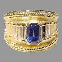 Stylish Etruscan Sapphire Diamond Ring 18K 2-Toned