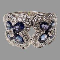 Elegant Sapphire Diamond Ring 18K Butterfly Band