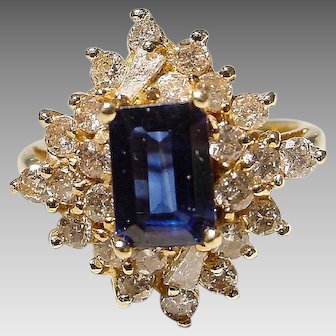 Classic Blue Sapphire & White Diamond Ring 14K Y-Gold - Old Fashion Emerald Cut Sapphire - Vintage 70's