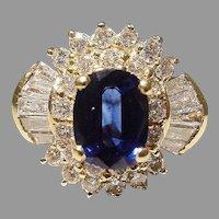 Royal Deep Blue Sapphire Ring 18K Bursting Diamonds
