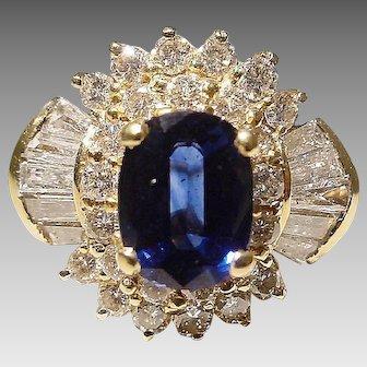 Royal Deep Blue Sapphire Diamond Ring 18K Y-Gold - Bursting Set Diamonds