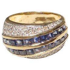 Blue Sapphire Diamond Ring 14K - Comfy Dome Band