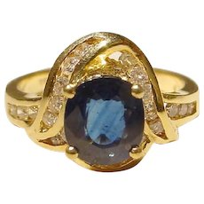 Favorable Engagement Ring Blue Sapphire & Diamond Ring 18 KT Yellow Gold - Solitaire Sapphire Surrounding Diamonds