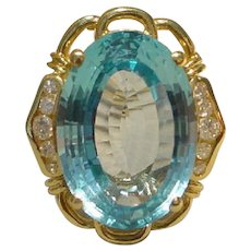 Classic Filigree Blue Topaz Ring with Diamonds and 14K Y-Gold