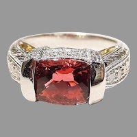 Red Tourmaline Diamond Ring 18K Intricate Filigree Band