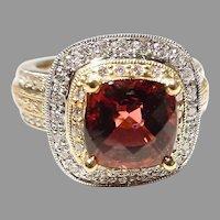 Gorgeous Red Tourmaline Diamond Ring 18K