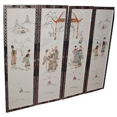 Chinoiserie Wooden Stone Figure Frames of 4 Wall Deco 30's