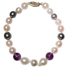 """Mixed Akoya Cultured Pearl Bracelet 14K Filigree Clasp - With Amethysts - 7.5"""" - Vintage"""