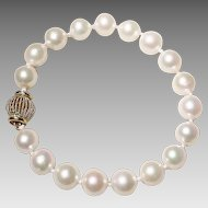 "Classic Akoya Cultured Pearl Bracelet 14K Filigree Ball Clasp - Great Size 9 MM 7-1/4"" - Vintage"