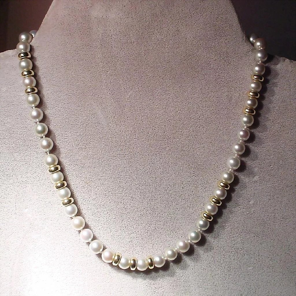 Pearl Necklace Akoya: Akoya Cultured Pearl Necklace Gray Pearls & Beads 14KT 7