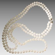 "Exclusive Akoya Cultured Pearl Necklace w/ Fancy Gold & Diamond Clasp Set of 3 - 14K Y-Gold - 7.5 MM - Double Strands - 22"" 30"" Vintage"