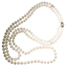 Other Wedding Jewelry Vintage Estate 3 Strand 7.5mm 8mm Baroque Cultured Pearl Necklace Sterling Clasp
