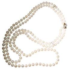 Vintage Estate 3 Strand 7.5mm 8mm Baroque Cultured Pearl Necklace Sterling Clasp Engagement & Wedding
