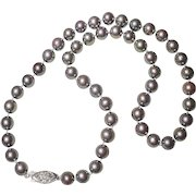 "Akoya Cultured Pearl Necklace 14KT 8 MM Rare Blue Gray Pearls 17-1/2"" - Vintage"