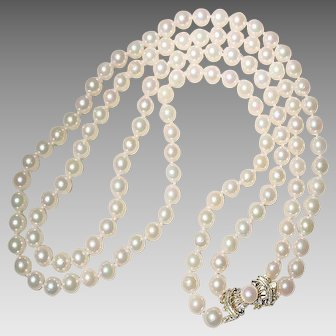 """Beautiful Double Cultured Akoya Pearl Necklace w/ Pearl Filigree 14K Two-Toned Gold Clasp - Classic 7 MM - 18.5"""" & 20.5"""""""