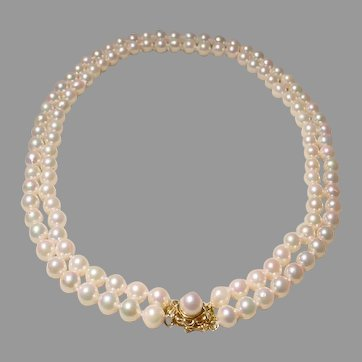 Akoya Cultured Pearl Necklace 14K Gold Pearl Clasp - Double Chokers