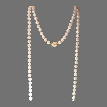"""Grand 62"""" Akoya Pearl Necklace 14K Pearl Clasp - Extra Opulent Length & Size 9 MM"""