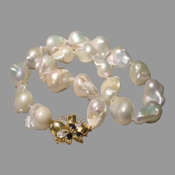Collective Baroque Pearl Necklace 14K Sapphire Gold Clasp - Largest 24 MM