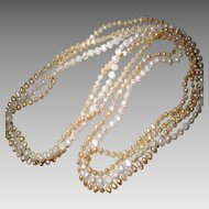 Mix Cultured Fresh Water Biwa Pearl Necklaces - Set of Three - White & Peach Colors - Long Strands 38""