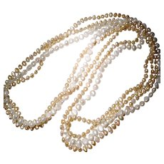 """Mix Cultured Fresh Water Biwa Pearl Necklaces - Set of Three - White & Peach Colors - Long Strands 38"""""""
