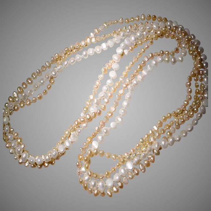 b60c60487 Mix Cultured Fresh Water Biwa Pearl Necklaces - Set of Three - White &  Peach Colors
