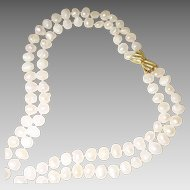 "Display Cultured Fresh Water Biwa Pearl Necklace w/ 14KT Yellow Gold Clasp - Natural White Double Strands Graduated 13-9 MM - 24"" & 28"""