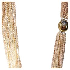 Fine Cultured Fresh Water Biwa Pearl Necklace w/ Two-Toned 14K G-Clasp - Rare Natural Peach Pearls of 20 Strands 34""