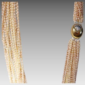 """Fine Cultured Fresh Water Biwa Pearl Necklace w/ Two-Toned 14K G-Clasp - Rare Natural Peach Pearls of 20 Strands 34"""""""