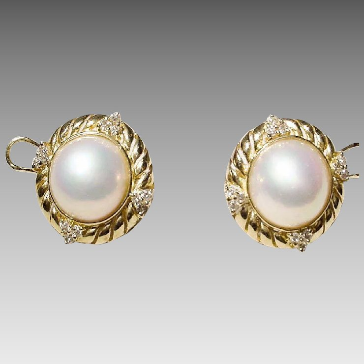Most Clic Mabe Pearl Earrings Diamonds Gold 18 Kt Y Filigree