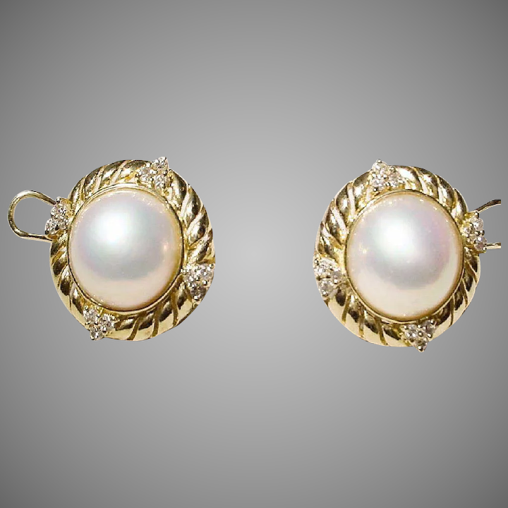 Most Clic Mabe Pearl Earrings Diamonds Gold 18 Kt Y Filigree Vintage 70 S