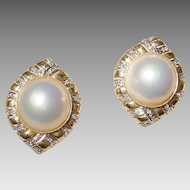 Designer Mabe Pearl Earrings - Diamonds & Gold - 14 KT Yellow Gold Filigree - Fabulous