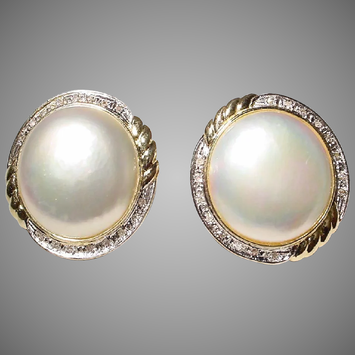 Bright Cultured Mabe Pearl Earrings W Diamonds 14 Kt Y Gold Huge Pearls Sun Flowers