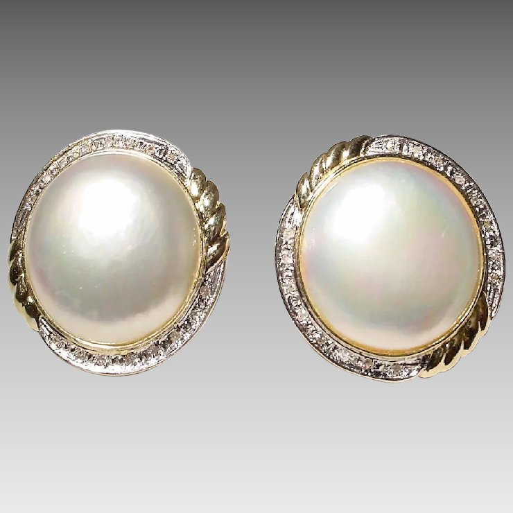 Bright Cultured Mabe Pearl Earrings W Diamonds 14 Kt Y Gold Huge Pearls