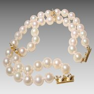 """Elegant Double Cultured Akoya Pearl Bracelet w/ Fancy Gold & Diamond Clasp Set of 3 - 14 KT Yellow Gold - Lovely Pearls 7.5 MM - 7"""""""