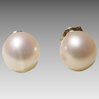 Akoya Cultured Pearl Earrings 14K Y- Gold Simple Studs 7.5 MM Gem Quality Classic White - Vintage