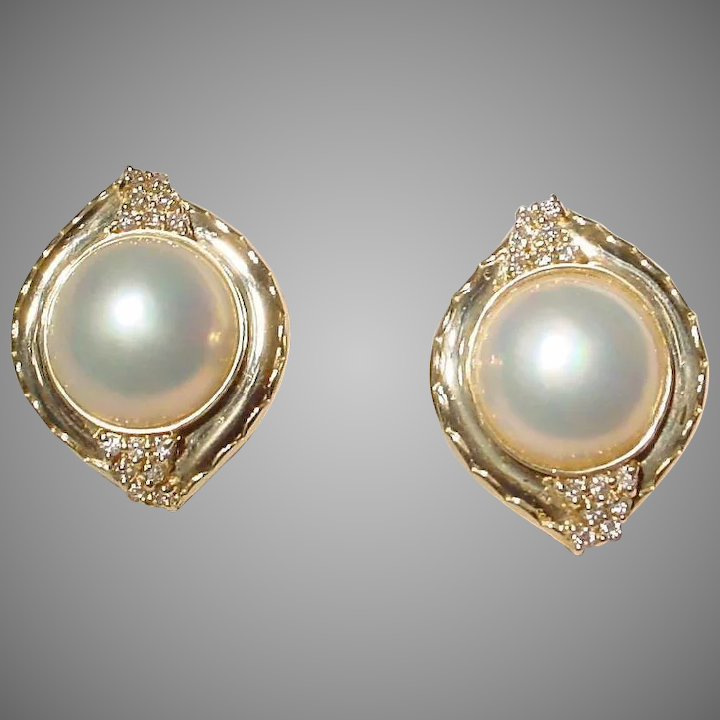 Extra Elegant Cultured Mabe Pearl Earrings 14 Kt Yellow Gold With Diamonds Mm Pearls Fine
