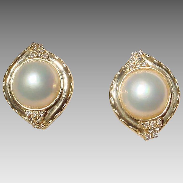 Extra Elegant Cultured Mabe Pearl Earrings 14 Kt Yellow Gold With Diamonds Mm Pearls