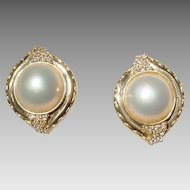 Extra Elegant Cultured Mabe Pearl Earrings 14 KT Yellow Gold with Diamonds - 14 MM Pearls Extra Fine