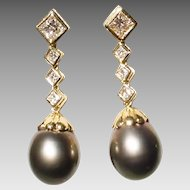 Extra Charm Tahitian Black Pearl & Diamond Earrings -18KT Yellow Gold - Natural Pearl Drops 14 MM & Princess Diamonds