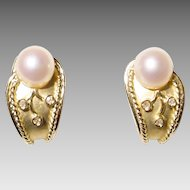 Stylish Huggies - Cultured Akoya Pearl Earrings w/ Diamonds 14KT Yellow Gold Two-Toned Etruscan - Rosy White Pearls - Art Nouveau Style