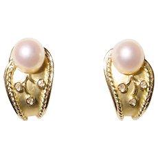 Akoya Pearl Earrings Diamonds 14K Two-Toned Etruscan - Stylish Huggies