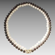 Versatile Set Cultured Akoya Pearl Necklace with 14KT Yellow Gold Clasps -- Double Black & White -- Attached or Separated