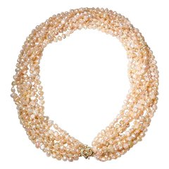 """Spectacular F W Biwa Pearl Necklace 14K Clasp - Natural Mauve Color of 9 Strands -20"""""""