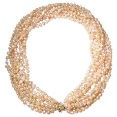 5f92a87fa Spectacular Cultured Fresh Water Biwa Pearl Necklace w/ 14KT Pink Gold  Clasp - Natural Mauve