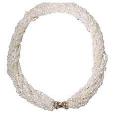 Special Mix Cultured Fresh Water Biwa Pearl Necklace w/ 14KT Yellow Gold Clasp - White Color of 9 Strands -20""
