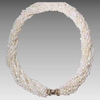 """Special Mix Cultured Fresh Water Biwa Pearl Necklace w/ 14KT Yellow Gold Clasp - White Color of 9 Strands -20"""""""