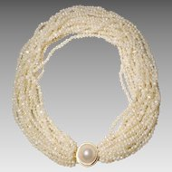 """Spectacular Cultured Fresh Water Biwa Pearl Necklace w/ Blister Pearl & 14KT Yellow Gold Clasp - Natural Sand Color of 16 Strands -19"""""""