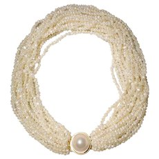 Spectacular Cultured Fresh Water Biwa Pearl Necklace w/ Blister Pearl & 14KT Yellow Gold Clasp - Natural Sand Color of 16 Strands -19""