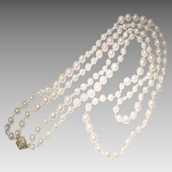 "Combined Baroques 2-Strand Akoya Culture Pearl Necklace 14 KT Yellow Gold Diamond Clasp - 25"" & 30"" - Vintage"