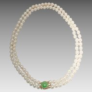 Cultured Akoya Pearl Necklace with 14KT Yellow Gold and Green Jade Clasp -- Double Strand Necklace